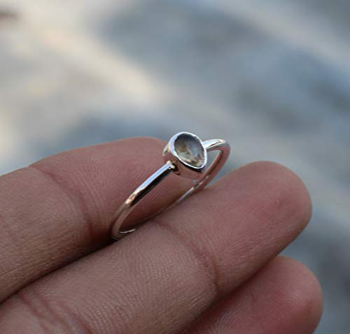 Round Stone Ring Cabochon Ring 925 Sterling Silver Ring Engagement Ring For Her Birthday Gift Aqua Calcy Ring