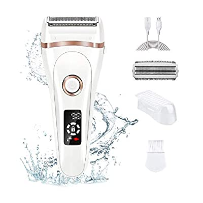 Electric Shaver Epilator for Women, Aottom Lady Shaver Bikini Trimmer Wet and Dry,Rechargeable Hair Remover for Arm Legs Underarms Bikini Area with LED Display by Aottom