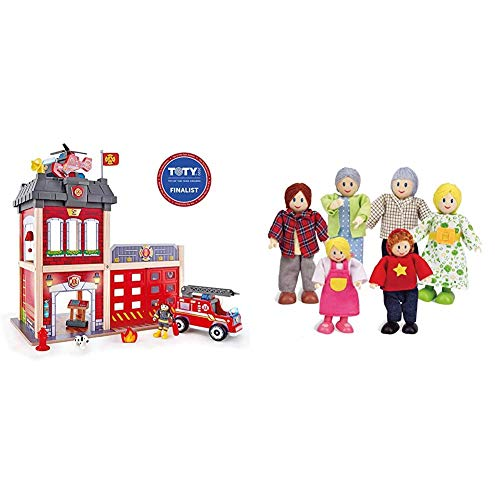 Hape Fire Station Playset & Happy Family Dollhouse Set by Hape |Award Winning Doll Family Set, 6 Family Figures, Adults 4.3' and Kids 3.5', Multicolor