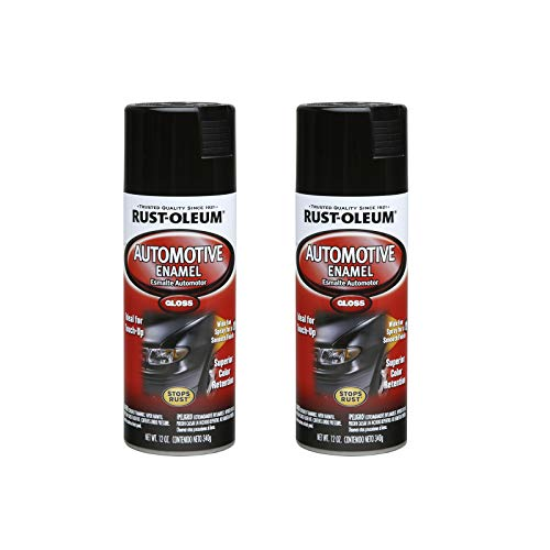 Rust-Oleum 252462A2 Automotive Enamel Spray Paint, 2 Pack, Gloss Black, 24 Ounce