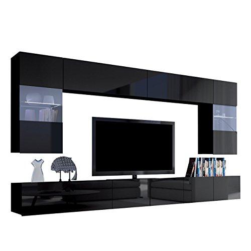 Moderne Wohnwand Calabrini I, Anbauwand, Mediawand, Hängevitrine, TV Lowboard, Wandregal, Wohnzimmerschrank, Fernsehschrank (mit Blauer LED Beleuchtung, Schwarz/Schwarz Hochglanz)