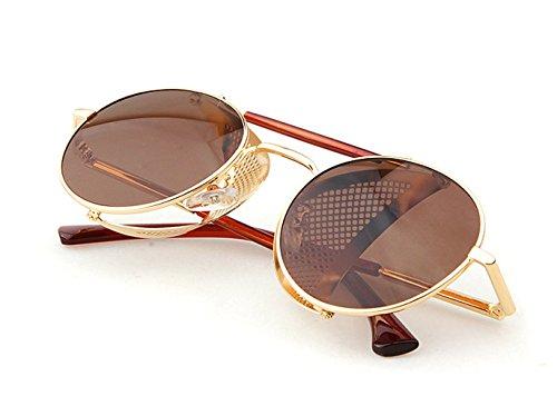 Steampunk Metal Frame Leather Side Wind Mirror Sunglasses Retro Sunglasses
