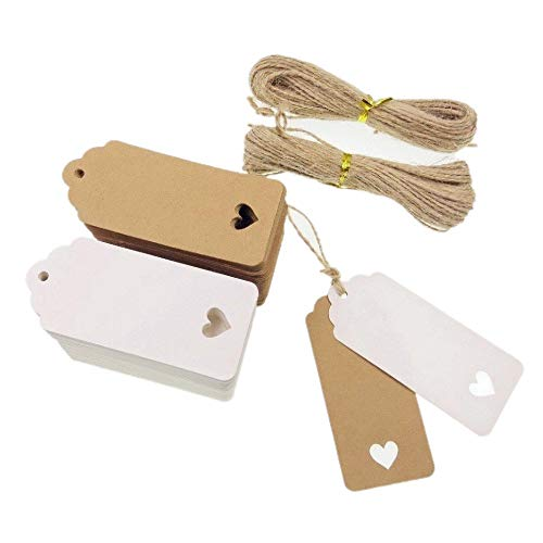 JZK 100 White & 100 Brown Heart Kraft Paper Gift Tags + 40M Jute Twine String, Price tag Luggage tag Cardboard Tags for Wedding Party Favours DIY Bookmark