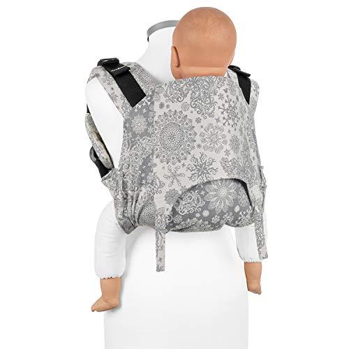 Fidella Onbuhimo Rückentrage für Kinder I Ideal während der Schwangerschaft I Babytrage aus 100% Bio Baumwolle I Tragerucksack mit Sicherheitsschnalle I Grau