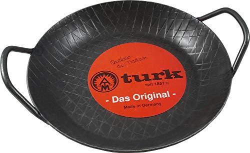 Turk Servierpfanne D= 24 cm Eisenpfanne Bratpfanne Pfanne mit 2 Griffen geschmiedet ohne Beschichtung & extra hoher Rand!! Ideal auch für Backofen