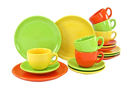 Creatable, 14433, Serie Top Spring, 18 teilig Kaffeeservice, Stein, Mehrfarbig, 39 x 24 x 26 cm, Einheiten