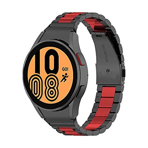 JAWSEU Correa Compatible con Samsung Galaxy Watch 4 (40mm/44mm)/Galaxy Watch 4 Classic (42mm/46mm), 20mm Correa Acero Inoxidable Metal Banda Pulsera Repuesto de Correa (Negro + Rojo)