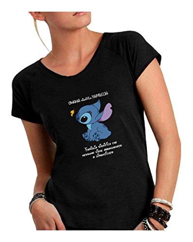 T-Shirt Donna Girocollo Taglio Vivo 100% Cotone Pettinato Fiammato -Lilo e Stich Ohana - Made in Italy (XL, Nero)