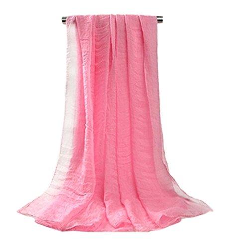 Doux longue en mousseline de soie Foulard Châle pour femme, Mesdames et filles (Rose)