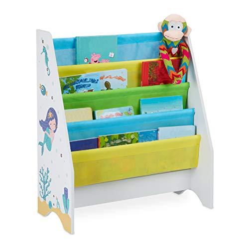 Relaxdays Kinder Bücherregal, 4 Hängefacher, Meerjungfrau Kindermotiv, HBT: 71x62x29 cm, Bücheraufbewahrung, Mehrfarbig, 1 Stück