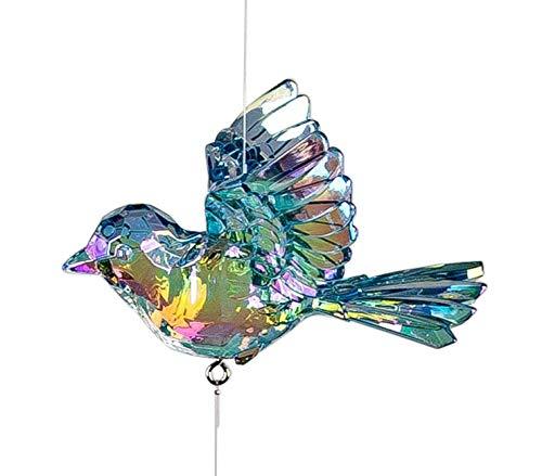 dekojohnson Edle Fenster-Deko Vogel Acryl-Hänger-Vogel Fensterschmuck Hängedeko Frühlingsdeko Acryl-Lüster-Deko blau 46cm Sonnenfänger