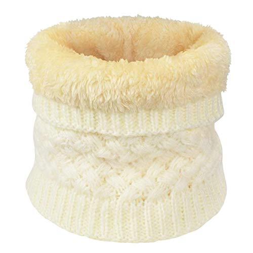 heekpek Sciarpa Invernale Donna Sciarpa Rotonda Lavorata a Maglia (bianca)