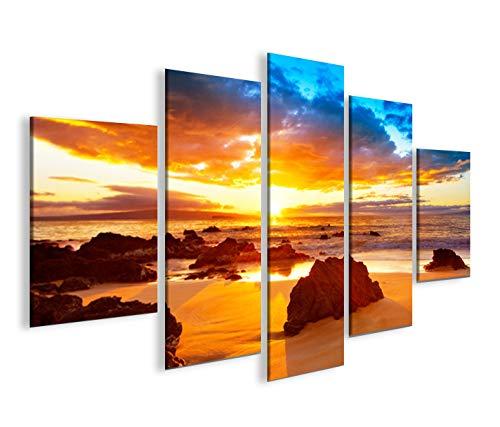 islandburner Quadro Moderno New Sunset Tramonto Mare Spiaggia Sole MFP Stampa su Tela - Quadro x poltrone Salotto Cucina mobili Ufficio casa - Fotografica Formato XXL