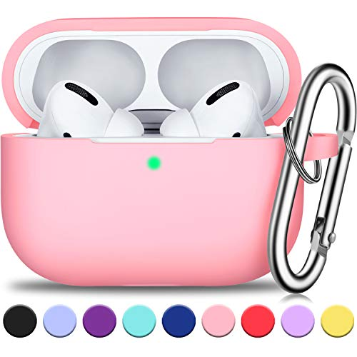 AirPods Pro Case Cover with Silver Keychain, Full Protective Silicone AirPods Accessories Skin Cover for Women Men Girl with Apple 2019 Latest AirPods Pro Case, Front LED Visible-Pink