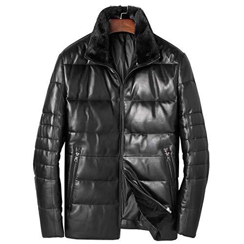 メンズダウンジャケット メンズダウンジャケットレザー冬は暖かいスリムダウンジャケット防水トップジャケットレザージャケットトップスパッド入り (Color : Black, Size : XXXXL)