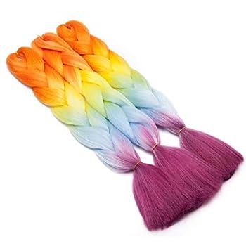 SEGO 24 Inch Ombre Jumbo Braiding Hair Jumbo Braid Hair Extensions Long Jumbo Braids for Box Braids Crochet Hair 4 Tone Rainbow Colored Orange/Yellow/Light Blue/Hot Pink 1 Bundle