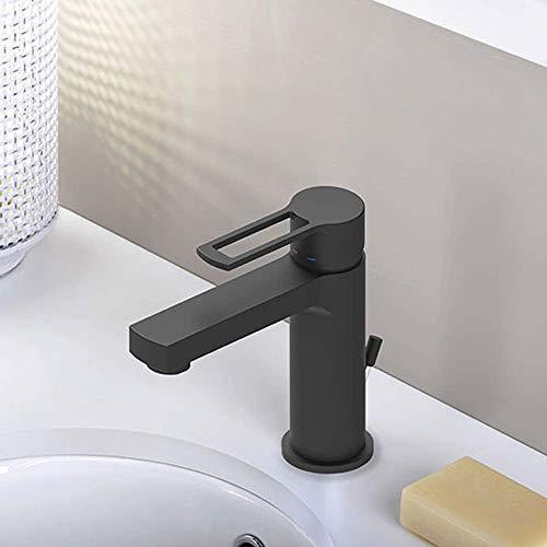 Paffoni'Ringo' miscelatore lavabo con scarico click-clack 1 1/4' leva aperta, cromato, aeratore M 24 x 1, set 2 flessibili inox 3/8' G - colore nero