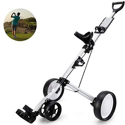 Chariot Pliable Golf Panier en Alliage d'aluminium, Golf 4 Roues Golf Push Cart avec Kettle Stand Tableau de Bord de Golf Panier Light Chariot, Facile et Carry Fold