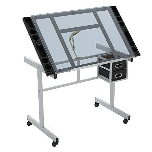 DlandHome Glas Zeichnung Schreibtisch, Einstellbarer Winkel Tisch Hobby 105 x 60 CM Handwerk /Skizze /Zeichentisch, für Hause und Büro Transparentes Glas