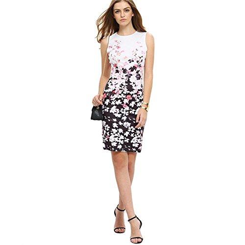 ALAIX Damen Blumendruck Rundhals Ärmelloses alltägliches Elegantes Kleid mit superem Passform Weiß-L