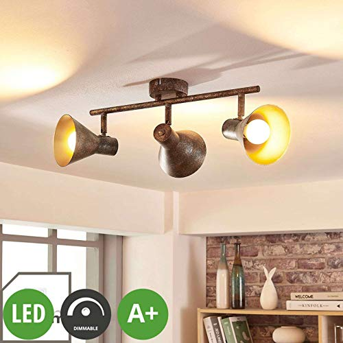 Lindby LED Deckenleuchte 'Zera' dimmbar (Retro, Vintage, Antik) in Braun aus Metall u.a. für Wohnzimmer & Esszimmer (3 flammig, E14, A+, inkl. Leuchtmittel) - Lampe, LED-Deckenlampe, Deckenlampe