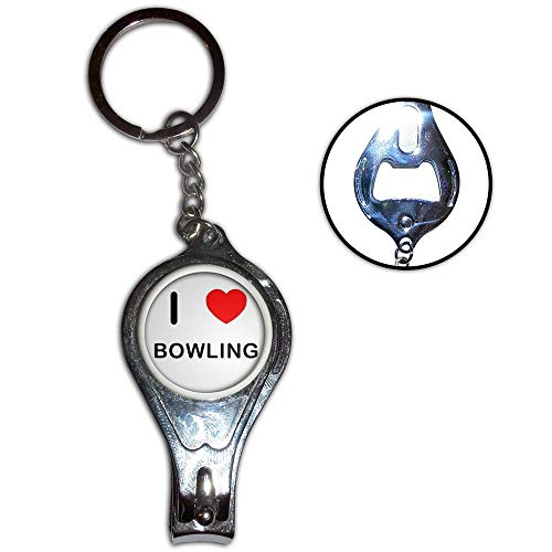 I Love Heart Bowling - Nagelknipser Flaschenöffner Metall-Schlüsselanhänger