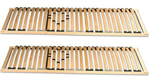 Coemo 2 x 7-Zonen Lattenrost Basic 80x200 cm starr Härtegrad verstellbar 28 Leisten Partner-Set Liegefläche 160x200 cm