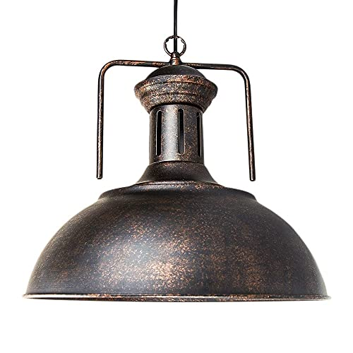 American Retro techo colgante luz metal domo sombra industrial loft colgante iluminación iluminación accesorios e27 base antigua óxido acabado para salones comedor comedor cocina dormitorio