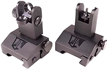 Ozark Armament Flip Up Battle Sights - Best Military Grade Battle Sights with All Metal Construction - Two Aperture Rear Sight for Close and Precision Targets - Designed to Mount on Picatinny Rails