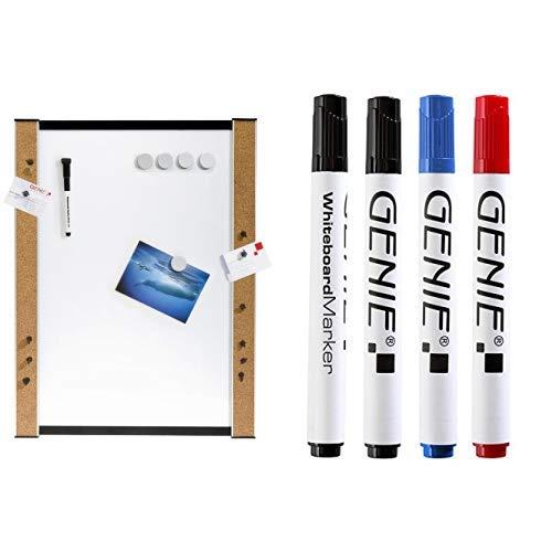 Genie 11213 Whiteboard (Beschreibbare Magnettafel mit Korkrand, inkl. Stifte, Magnete, Pinnadeln, Wandbefestigung, 45 cm x 60 cm) & Whiteboardmarker Set  4 Stück