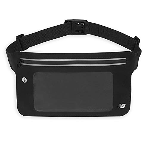 New Balance Running Belt Waist Pack Phone Holder - Slim Workout Fanny Pack Bag with Touchscreen Case Pocket | Water Resistant Jogging Pouch & Walking Belt for Women & Men, Black (LAO63905BK)