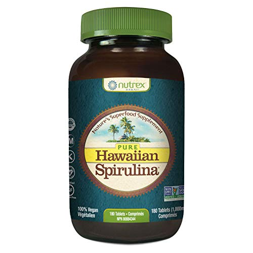 Pure Hawaiian Spirulina - 1000 mg Tablets 180 Count - Farm Grown in Hawaii since 1984 - Natural, Nutrient Rich Superfood - Immune Support, Detox & Energy – Vegan Complete Protein, Non-GMO