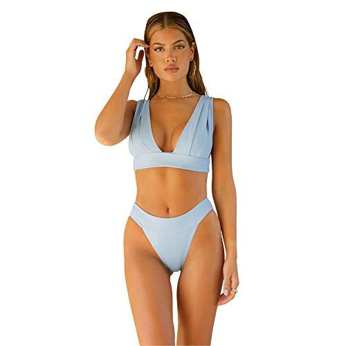 ÔNNE SWIMWEAR Parte De Arriba Bikini Mujer Tahiti Top Plain Azul Grisáceo L