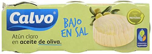Calvo - Atun Claro en aceite de oliva, bajo en sal - 3 x 80 g - [pack de 2]