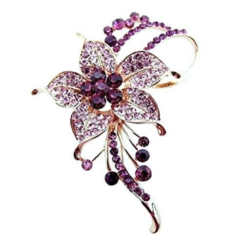 HSQYJ Blumen-Brosche mit Kristallen, modische schöne Brosche mit dunkelroten Strasssteinen, gute Idee für Party, Tanz, Hochzeit, Bankett, für elegante Frauen und Mädchen