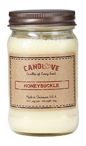 CANDLOVE Honeysuckle Scented 16oz Mason Jar Candle 100% Soy Made in The USA