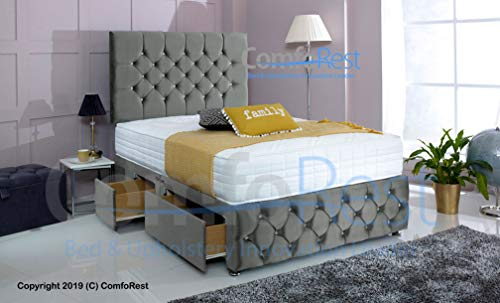 ComfoRest, Bedding & Upholstery Innovation Leader Comfort24 Plush Velvet Chesterfield Divan Bed Set + Memory Mattress + 24' Ibex HB (2 Drawers CONTI) (Grey, 4FT - Small Double)