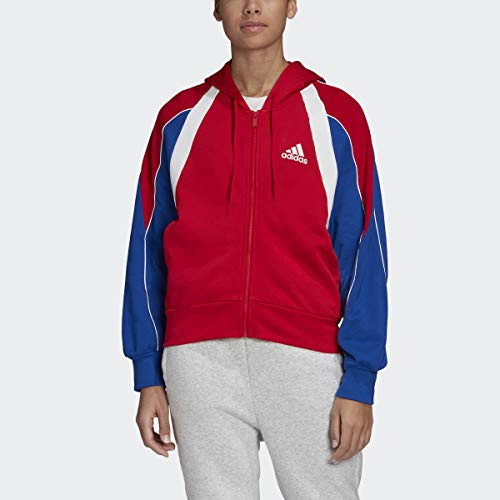adidas womens Colorblock Full-Zip Hoodie Scarlet/Team Royal Blue Large