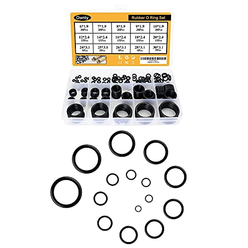 200 Pcs 15 Sizes Rubber O Rings Assortment Kit Range 0.24-1.18 inch/6-30 mm, Metric NBR Small Rubber Oring Sealing Gasket Washer Seal Assorted Set for Automotive, Faucet Repair, etc