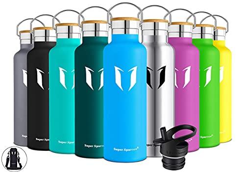 Super Sparrow Trinkflasche Edelstahl Wasserflasche - 500ml - Isolier Flasche mit Perfekte Thermosflasche für das Laufen, Fitness, Yoga, Im Freien und Camping   Frei von BPA (Meerblau)