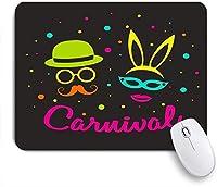 VAMIX マウスパッド 個性的 おしゃれ 柔軟 かわいい ゴム製裏面 ゲーミングマウスパッド PC ノートパソコン オフィス用 デスクマット 滑り止め 耐久性が良い おもしろいパターン (ポスターレトロなスタイルのマスクの口ひげの紙吹雪の休日を祝う)