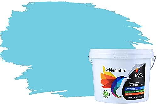 RyFo Colors Seidenlatex Trend Blautöne Himmelblau 3l - bunte Innenfarbe, weitere Blau Farbtöne und Größen erhältlich, Deckkraft Klasse 1