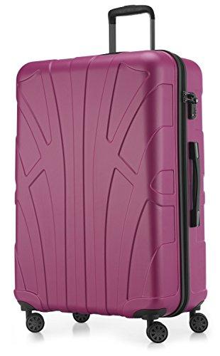 Suitline großer Hartschalen-Koffer Koffer Trolley Rollkoffer XL Reisekoffer, TSA, 76 cm, ca. 96-110 Liter, 100% ABS Matt, Magenta