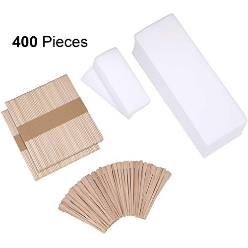 400 Pieces Wax Strips Sticks Kit, Non-Woven Waxing Strips Hair Removal Strip with Wax Applicator Stick for Body Skin Facial Hair Removal Tools