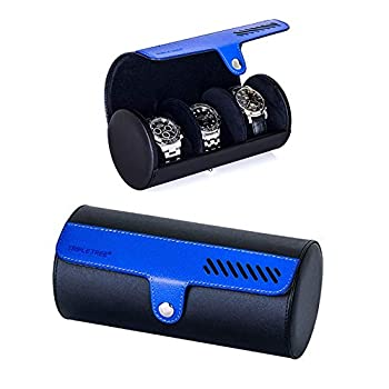 Watch Roll Travel Watch Case For 3 Watch Travel Watch Box with Velvet Sections to Prevent Scratching or Impact  Black