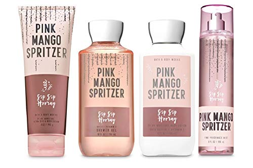 Bath and Body Works Pink Mango Spritzer Deluxe Gift Set Body Lotion - Body Cream - Fragrance Mist and Shower Gel - Full Size