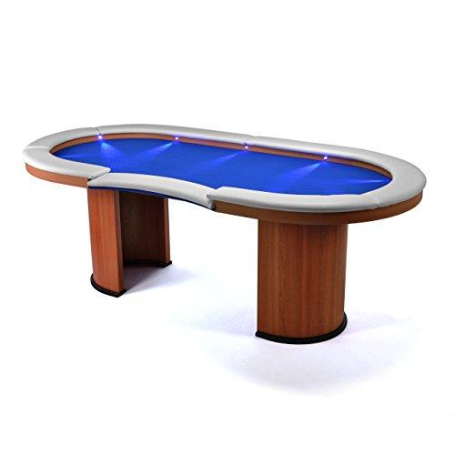 Nexos Pokertisch massiv Casinotisch aus Holz für Poker mit blauem Filzbezug weißen Armlehnen und LED Beleuchtung für 10 Spieler 213 x 105 cm