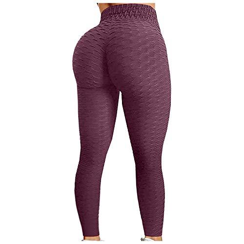 LNIBA Push Up Leggings para Mujer, Mallas de Deporte de Mujer, Panal Arrugado para Nalgas Leggings Levante los Mallas de Yoga de Alta Cintura Pantalones Deportivos de Elásticos (M, Vino)