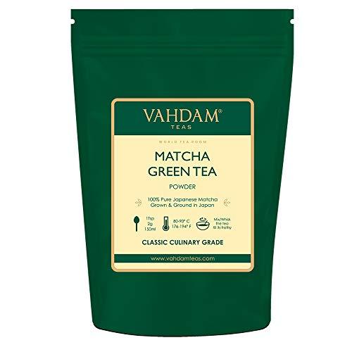 VAHDAM, Matcha Tee Pulver (100gr 50 Tassen), 100% Zertifiziertes reines und ungemischtes japanisches Matcha Grüner Tee, Klassischer Kulinarischer Matcha-Tee | 137x Anti-OXIDANTS | Steigert die Energie