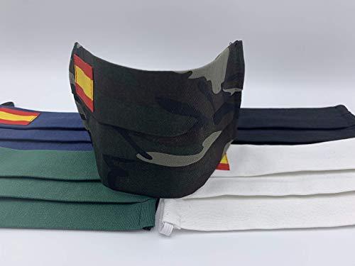 Pack 2 unidades de algodon estampado militar con bandera de España